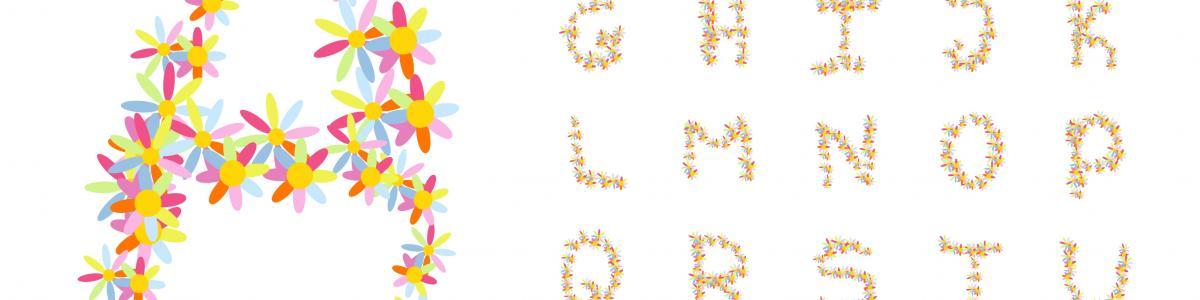 Alfabet af multifarvet blomster