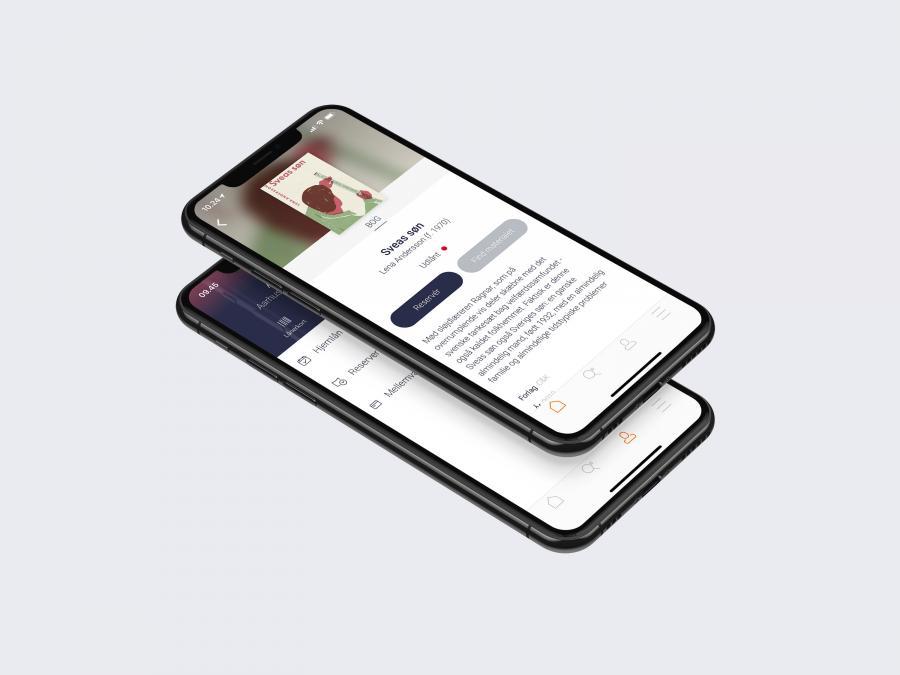 Appen Biblioteket - to smartphones med appen Biblioteket åben