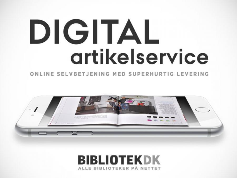 Bog på smartphone med teksten: Digital artikelservice