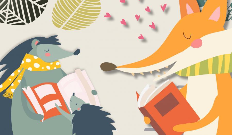 Illustration af ræv der læser og pindsvin der læser højt