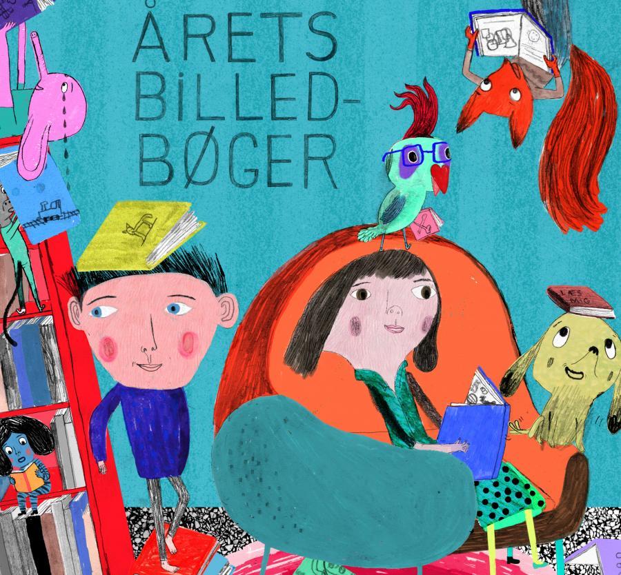 Illustration af mennesker og dyr der læser med teksten: Årets billedbøger