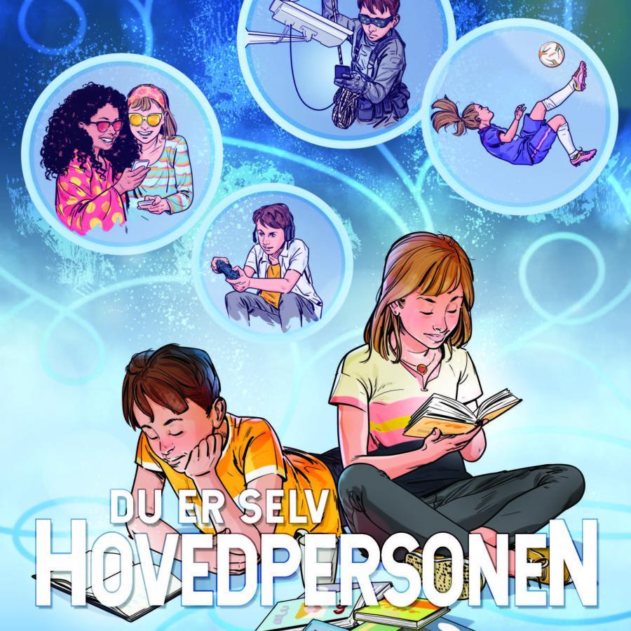 Dreng og pige der læser med forskellige situationer i bobler bag dem