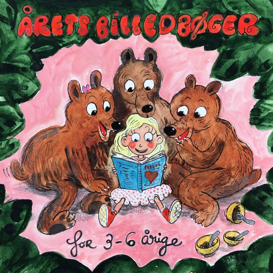 Illustration af guldlok og de tre bjørne der læser en bog