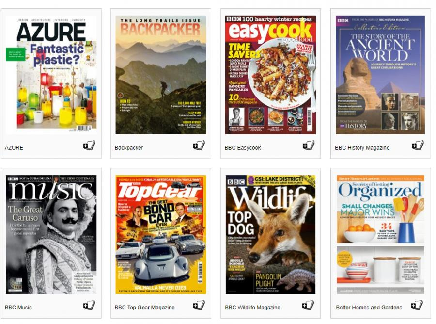 Screenshot af hjemmeside med diverse magasiner
