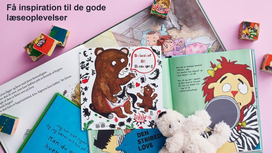 Bøger til børn med et tøjdyr og træklodser