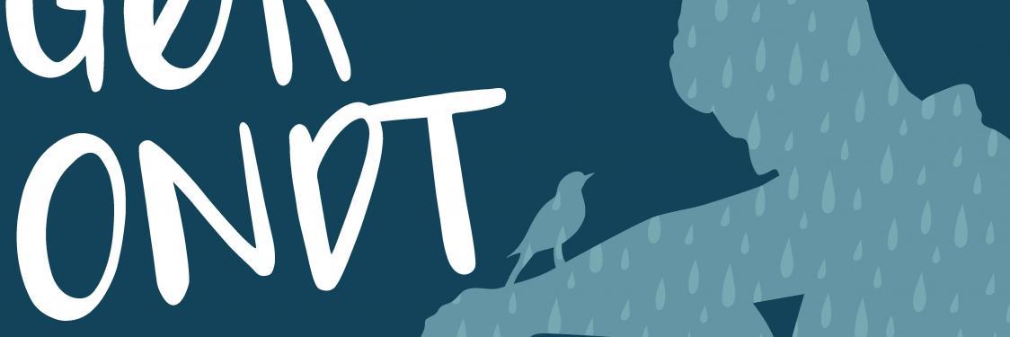 Silhuet af person der sidder med fugl på armen med teksten: Når livet gør ondt